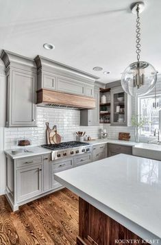 Surprising Useful Ideas: Small Kitchen Remodel Peninsula large kitchen remodel subway tiles.Old Kitchen Remodel Small kitchen remodel rustic stools. Kitchen Cabinets Trim, Kitchen Cabinet Design, Kitchen Redo, Kitchen Dining, Gray Cabinets, Kitchen White, Kitchen Corner, Corner Cabinets, Rustic Kitchen