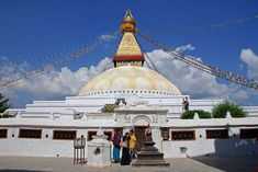 Boudhanath Stupa is the biggest stupa in Nepal and the holiest Tibetan Buddhist temple outside Tibet. It is the facility of Tibetan culture in Nepal and rich in Buddhist significance. Mount Everest Base Camp, Village Tours, India Holidays, Train Tour, Historical Monuments, India Tour, Lhasa, Buddhist Temple, Group Tours