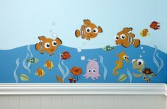 Fish are friends at bedtime. These FINDING NEMO inspired wall decals feature Nemo, Squirt, and friends in bold colors of turquoise, dark blue, orange, yellow, and tan. Recreate Nemo's habitat in your baby's nursery. Comes with 4 sheets of various size decals. Easy to use, just peel & stick! Coordinates with the Disney Baby Finding …