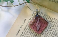 Pink Glass pendant, Pink Fused Glass necklace, Pink Pendant, Pink glass necklace, pink science necklace, fossil necklace, plant necklace by thejeremiahtreeglass. Explore more products on http://thejeremiahtreeglass.etsy.com