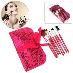 Fashion 7PCS Soft Make-up Brushes with Elegant Plum Bag #trendsgal #makeup #brushes #bag