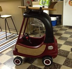 Refurbished Cozy Coupe - Woody surf mobile. #toddler #birthday