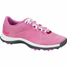 Gotta love our Pink Nike Ladies Lunar Summer Lite Golf Shoes with Full-length Lunarlon cushioning, perfect for athletes! Great for warm, dry weather. Super comfortable and lightweight! #golf #nike #shoes #athletes #lorisgolfshoppe