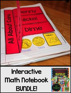 Telling Time, Geometry, and Money Interactive Notebooks all bundled together into one product!  OVER 80 PAGES!!!