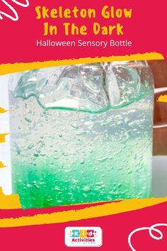 Skeleton Glow In The Dark Halloween Sensory Bottle! diy sensory bottles, sensory bottles for toddlers, Fall sensory bottles, Halloween sensory bottles, sensory bottles for babies, how to make sensory bottles, glitter sensory bottles, galaxy sensory bottle, easy sensory bottles, Christmas sensory bottles, autumn sensory bottles, sensory bottle ideas, homemade sensory bottles, best sensory bottles. #diysensorybottles #sensorybottlesfortoddlers #fallsensorybottles #sensorybottlesforbabies Sensory Bottles For Toddlers, Sensory Bottles Preschool, Glitter Sensory Bottles, Sensory Activities, Activities For Kids, Halloween Activities, Halloween House, Skeleton, The Darkest
