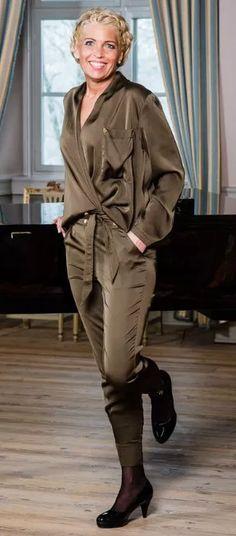 Barfota sateng bukse militærgrønn