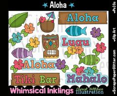 Aloha 1 Clip Art, Commercial Use, Clipart, Digital Image, Png, Graphic, Digital, Instant Download, Hawaii, Vacation, Beach, Tiki, Party by ResellerClipArt on Etsy