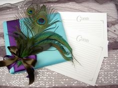 Turquoise Peacock Wedding Guest Book $69.95