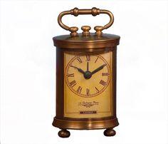 Antique Style Bombay Brass Mantel Desk Clock,3'' x 5''H. #Unbranded