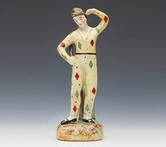 Staffordshire Harlequin Figure, recorded as made by Thomas Parr, c.1890