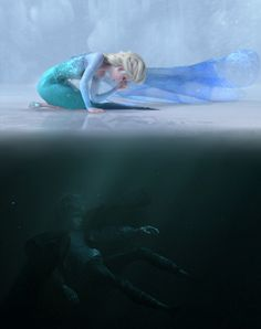 Head cannon: Jack and Elsa lived near each other and when Elsa froze the ice he and his sister went skating, but jack fell through the I've hence the picture.