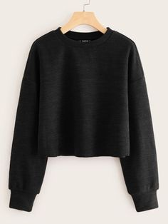 Shop Crew Neck Ribbed Black Crop Pullover at ROMWE, discover more fashion styles online. Cheap Crop Tops, Cute Crop Tops, Pop Fashion, Fashion Styles, T Shirts For Women, Clothes For Women, Cropped Sweater, Rib Knit, Long Sleeve Tops