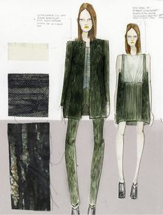 Fashion Sketchbook - fashion design process - fashion illustrations & fabric swatches; developing a collection; fashion portfolio // Katty Hoelck