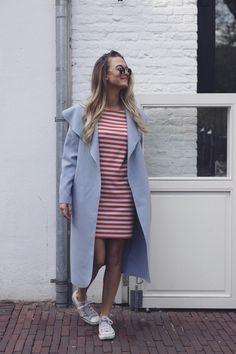 striped dress comfy trenchcoat babyblue