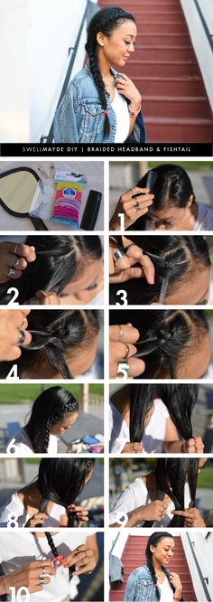 DIY | BRAIDED HEADBAND WITH FISHTAIL  My hair is to thin for braids :( but I love the way they look on thicker hair.