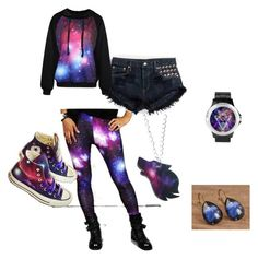"""""""galaxy"""" by ashesburn ❤ liked on Polyvore featuring Converse"""