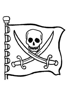 Le dessin d'un drapeau de pirate orné de tête de mort et de deux épées à colorier.