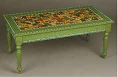 Lovely green table with decoupage top.        Product in photo is from www.wellappointedhouse.com