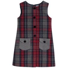 Sleeveless red and grey tartan woollen cloth dress.Find the whole Dolce & Gabbana collection on MELIJOE. Shop kids clothes, shoes, and accessories from top Italian designer brands. Girls Frock Design, Kids Frocks Design, Baby Frocks Designs, Baby Dress Design, Girls Dresses Sewing, Frocks For Girls, Toddler Girl Dresses, Little Girl Dresses, African Dresses For Kids