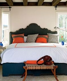 Orange-themed Bedroom Interior: Luxury Bedroom With Orange Pillow On Bed Mattress ~ kateobriens.com Bedroom Inspiration