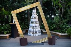 A photo op let guests pose with a tower of champagne bottles and a tilted frame with the hashtag #MoetMoment.  Photo: Michael Kovac/Getty Images for Moet & Chandon