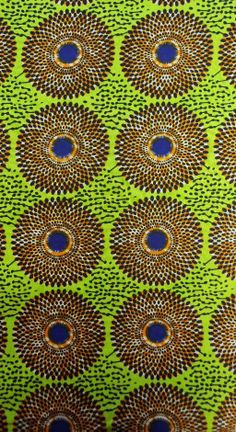 Lime Green and Orange Circular Design African Print Fabric (sold by the yard) African Textiles, African Prints, African Fabric, Textile Patterns, Print Patterns, Market Stalls, Straw Hats, Black Girl Art, Congo