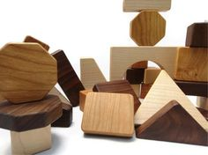 Organic Wooden Blocks 30 Pieces - Wooden Building Blocks and  Shapes. $42.00, via Etsy.