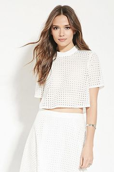 Contemporary Eyelet Crop Top   Forever 21 - 2000167627
