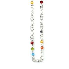 "-SUGAR AND SPICE- "" A delicious blend of bright red, green, blue and yellow beads on a silver chain make this a delectable and especially versatile necklace, bracelet or belt."" http://LMAWBY.mialisia.com"