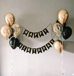 diy birthday decorations for men Happy b-day Happy b-day Simple Birthday Decorations, Balloon Decorations, Birthday Banner Ideas, 21st Birthday Ideas For Guys, Black And Gold Party Decorations, Birthday Cake For Boyfriend, Elegant Birthday Cakes, Romantic Birthday, Diy Party Decorations