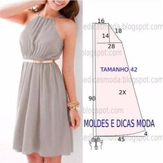 Molde Vestido Casual by angelia Trendy Dresses, Nice Dresses, Casual Dresses, Summer Dresses, Women's Dresses, Diy Clothing, Sewing Clothes, Dress Sewing Patterns, Clothing Patterns