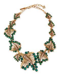 Cutout Jeweled Leaf Necklace, Green by Oscar de la Renta at Bergdorf Goodman.