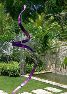 Purple Indoor Outdoor Contemporary Metal Sculpture   Handmade Freestanding  Abstract Metal Yard Art   Purple Ribbon Dancer By Jon Allen