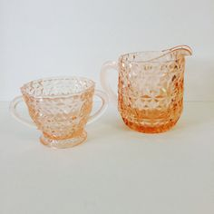 Jeanette Depression GlassSugar and Creamer by PrettyPoppiesVintage