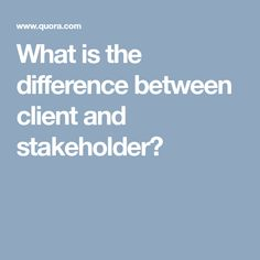 What is the difference between client and stakeholder?