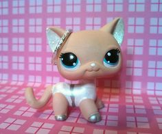 Silver Guardian Angel Short Hair Cat * OOAK Painted Custom Littlest Pet Shop #Hasbro