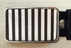 Black and White Stripes Tin Belt Buckle - Red Dove Studios - 1