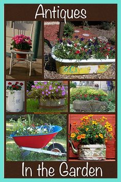 Give items a second life by using antiques as unique planters and containers. Some picture ideas to get your thoughts cycling. Mostly antiques but some additional containers too. Container Herb Garden, Container Gardening Vegetables, Container Flowers, Flower Planters, Container Plants, Garden Planters, Garden Shrubs, Garden Landscaping, Nectar Recipe