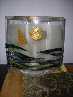 """""""paesaggio marino"""" resina bicomponente su vaso in vetro"""