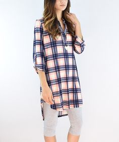 Look at this éloges Coral Plaid Tunic on #zulily today!