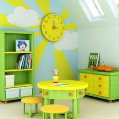 Love analog clocks in a kids room! They give things character.