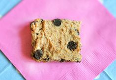 Low in calories, rich in omega 3's, GLUTEN FREE: Chocolate Chip Blondies. Optional: Sugar-free recipe included. From the Chocolate-Covered-Katie blog.
