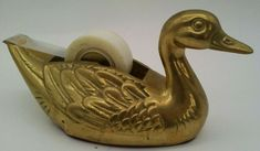 VTG Brass Duck Tape Dispenser Great Condition Goose Swan Solid ALL BRASS EUC MCM Tape Dispenser, Writing Pens, Duck Tape, Desk Accessories, Swan, Office Desk, The Unit, Brass, Logos