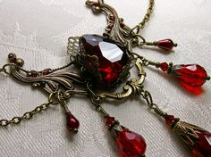 Blood Red Steampunk Choker Necklace Crystal by TitanicTemptations