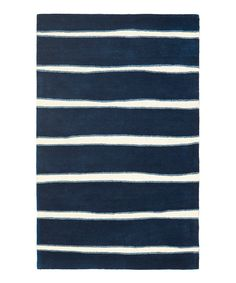 Look at this Wrought Iron & Navy Chalk Stripe Wool Rug on #zulily today!