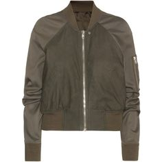 Rick Owens Brushed Leather Bomber Jacket (1 838 AUD) ❤ liked on Polyvore featuring outerwear, jackets, coats & jackets, tops, green, bomber jacket, green leather jacket, leather flight jacket, bomber style jacket and green jacket