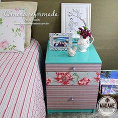 Como reformar uma cômoda, pintar e revestir com tecido. Passo a passo com fotos.