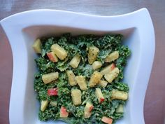 Kale Apple Salad with Pineapple Avocado Dressing is yummy and good for you! #superfoods #recipes
