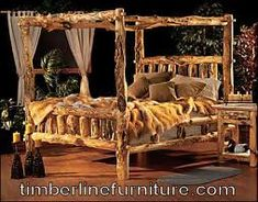 Home Log bed Log furniture and Canopy