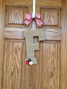 Monogram Jute Initial Wall Hanging Letter for the door , Monogram Wall Hanging, Red and White UGA Chevron Letter Wreath for the door on Etsy, $25.00